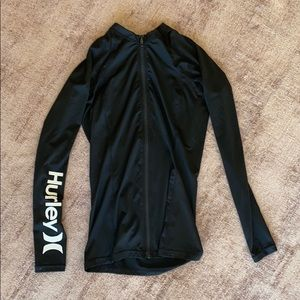 Hurley zip sun top workout or surf S upf50+